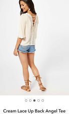 Miss Selfridge New Cream Long Sleeve Lace Up Angel Sleeve Top Size 8-14 RRp=£39
