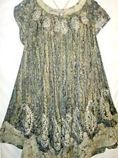 Womens Plus Size Dress Beige Tie Dye Batik Mumu Sz 2X/3X NEW Free Ship to US