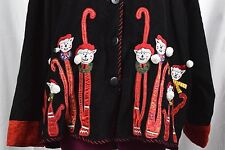 Christmas Cat Shirt Jacket Black Red Womens Plus 2X Corduroy Collared Button Up