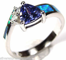 Trillion Tanzanite & Blue Fire Opal Inlay 925 Sterling Silver Ring Size 7,8,9