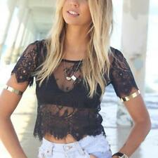 Fashion Women Lace Crop Short Sleeve Elegant Crochet Top Hollow Out Tank Tops