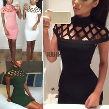 Womens Choker High Neck Bodycon Ladies Caged Sleeves Mini Dress US Size KECP