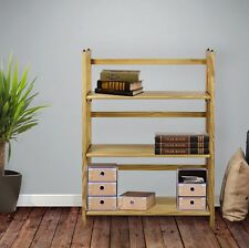 Stack Able Bookcase Natural Casual Home 3 Shelf Folding Fold Able Solid Wood