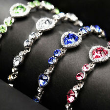 Fashion Heart Shaped Crystal Bead Bracelet Elegant Rhinestone Inlaid Bracelet