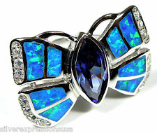 Tanzanite & Blue Fire Opal Inlay 925 Sterling Silver Butterfly Ring size 6,8,9