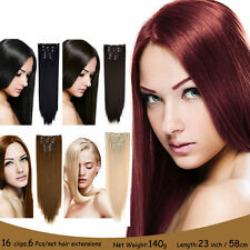 16 clips 6piece set Straight Hair Piece Clip  Heat Resistant in Hair Extensions