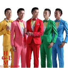 Mens One Button Chic Slim Fit Coats Groom Costumes Show Blazer Suits Jacket&Pant
