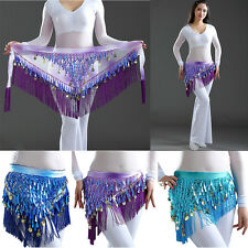 New Belly Dance Costume Hip Wrap Scarf Tribal Triangle Tassel Belt&Gold coins