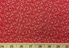 Tiny White Floral on Red Background Small Flower Fabric 100% Cotton Fabric w5/36