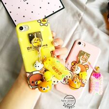 For iPhone 7 7 Plus 6 6S Cute Adorable 3D Doll Bear Rilakkuma Charms Strap Case