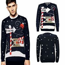 Unisex Christmas Vintage Novelty 70'S Xmas Jumper TO THE PUB Retro Sweater TOP