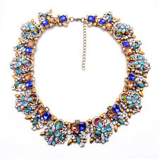 Bohemian Lady Fashion Rhinestone Flower Pendant Women Statement Necklace Jewelry