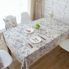 Elegant White Peony Flower Dinning Coffee Table Cotton Linen Cloth Cover T
