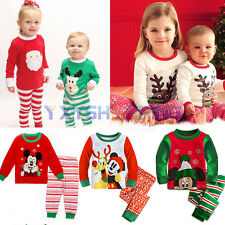 2Pcs Christmas Kids Baby Boys Girls T-shirt Tops+Leggings Pants XMAS Outfits Set