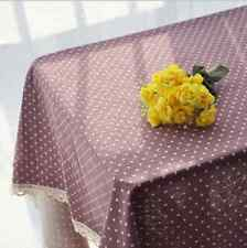 Elegant Brown White Dots Dinning Coffee Table Cotton Linen Cloth Cover T