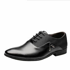 New 2017 Men Dress Formal Leather Shoes Flat Oxfords Loafers Lace up pointy toe