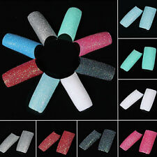 100Pcs Nail Art Acrylic Tips Chic DIY Colors Glitter Twinkle Slice French False
