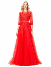 3/4 Sleeve Tulle RED Wedding Guest Bridesmaid Dress Evening Prom Party Gown Ball