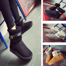 Women Winter Wool Short Suede Booties Warm Shoes Knit Thicken Ankle Snow Boots