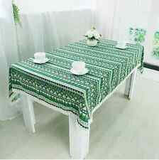 Elegant Ethnic Style Green Dinning Coffee Table Cotton Linen Cloth Cover T
