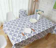 Elegant Tiny Blue Flower Dinning Coffee Table Cotton Linen Cloth Cover T