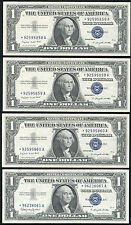 (4) CONSECUTIVE 1957-A $1 ONE DOLLAR *STAR* SILVER CERTIFICATES GEM UNC