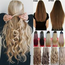 Extra THICK Clip In Hair Extensions Full Head curly straight 1piece as human T7z