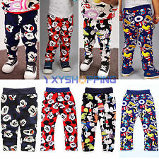 Toddler Baby Boy Girl Mickey Snoopy Fleece Warm Winter Long Pants Harem Trousers