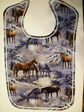ADULT CLOTHING PROTECTOR BIB (HORSES AT CREEK IN WINTER)