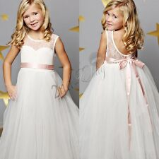 White Flower Girl Dress Party Pageant Princess Formal Wedding Bridesmaid Dress
