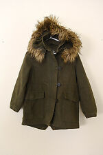 J Crew Crewcuts Army Green Canvas Jacket with Faux Fur Hood Size 4 5
