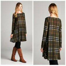 Plaid Olive Green Sweater Tunic Dress New Pockets Casual Trendy Holiday