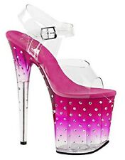 "Pleaser STARDUST-808T Exotic Dancer Super High Heels 8"" Hot Sexy Platform Sandal"