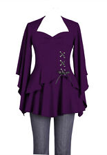 Plus Size Purple Gothic Kimono Sleeve Sweetheart Side Corset Top  1X 2X 3X 4X