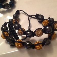 "8"" Bracelets w/10mm Zircon Clay Disco Ball & Hematite beads - 10 color choices"