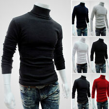 New Mens Thermal Cotton Stretch Shirt Turtle Neck Solid Turtleneck Knit Sweaters