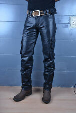 leather cargo pant jeans military army nice cut strong leather custom made 7