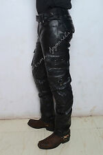 Leather biker jeans pant cargo Strong cowhide leather nice multi utility 7