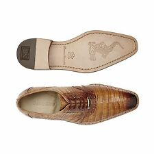 Belvedere Mens shoes Edo 100% Genuine Crocodile Antique Honey  Lace Up 1630 New