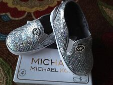 Michael Kors Baby Ivy Eilean infant girls silver sparkle MK shoes sizes 2, 4