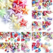 54-600pcs Acrylic Beads Assorted Flower/Animal/Star/Tube/Butterfly/Cube Antique