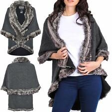 Womens Ladies Faux Fur Trim Winter Warm Jacket Towie Lush Wrap Coat Poncho Cape