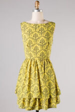 New Pink Owl Yellow/Navy Ruffled Bottom Sleeveless Dress with Floral Pattern