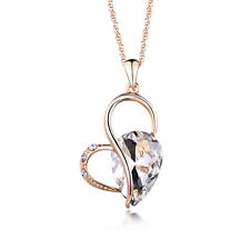 NEW Women Rhinestone Crystal Alloy 18K Rose Gold Plated Pendant for Necklace