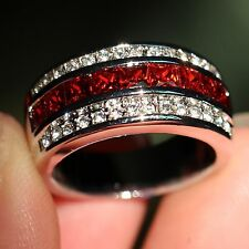 Size8-12 Men Fashion Jewelry Garnet 10kt White Gold Filled CZ Wedding Band Ring