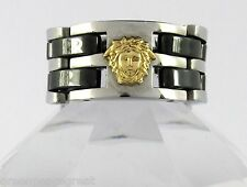 18k solid gold medusa head 316L stainless steel Link Chain Ring Size 10.75