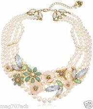 """Bridal  Betsey Johnson Exquisite""""Queen Bee"""" Flower Pearl Necklace  NWT $145"""