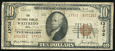 1929 $10 THE NATIONAL BANK OF WATERLOO, IA NATIONAL CURRENCY CH. #13702