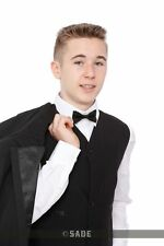 Boys Formal Black Tuxedo Suit Includes Waistcoat Shirt Dickie Bow 1-15 Years
