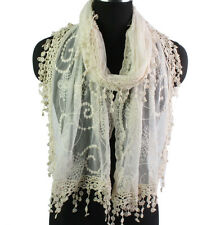 Women's Floral Embroidery Lace Funky Tassel Ladies Solid Color Long Scarf  Shawl